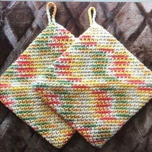 Fall colors hand crochet cotton potholders
